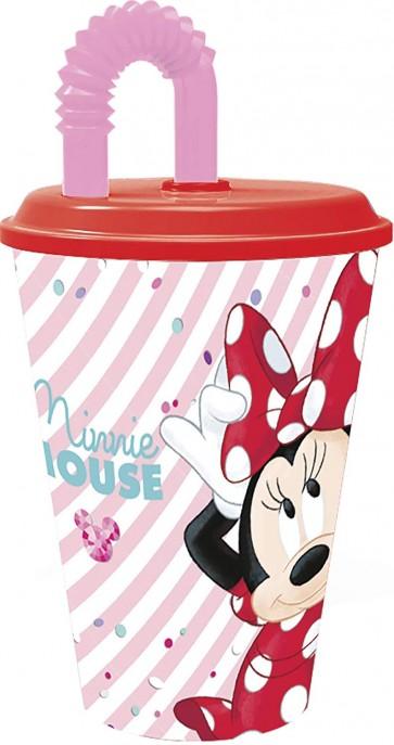 Minnie Mouse. Bicchiere con cannuccia e tappo 430 ml. Disney