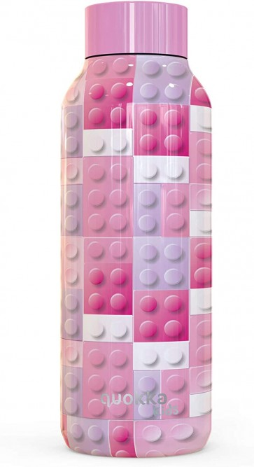 Quokka Kids Solid, Pink Bricks 510 ML. Bottiglia d'acqua Thermo - Acciaio Inox