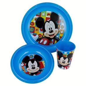 Mickey Mouse. Set Colazione 3 pezzi bicchiere, piatto e ciotola. Disney Topolino