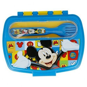 Mickey Mouse. Set Contenitore porta merenda + posate. Disney