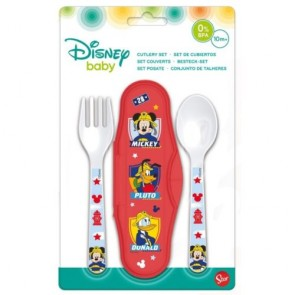 Mickey Mouse. Set Baby da viaggio con due posate. Disney
