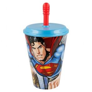 Superman. Bicchiere con cannuccia da 400 ml