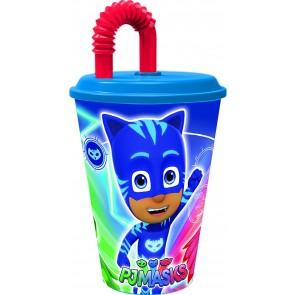 PJ Masks Superpigiamini. Bicchiere con tappo e cannuccia da 430 ml