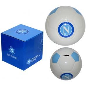Gadget SSC Napoli. Salvadanaio a forma di pallone in ceramica con logo ufficiale