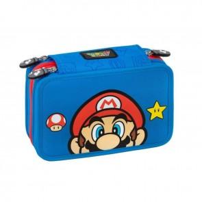 Super Mario Astuccio 3 Zip Blue