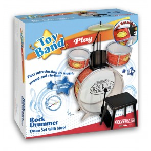 Toy Band. Rock Drummer. Batteria Grancassa Con Pedale 2 Tamburi Piatto Metallico Con Sgabello