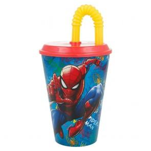 Spiderman. Bicchiere con cannuccia e tappo 430 ml