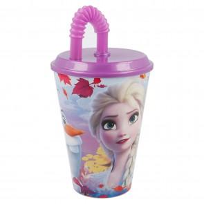 Frozen II. Bicchiere con cannuccia e tappo 430 ml. Disney