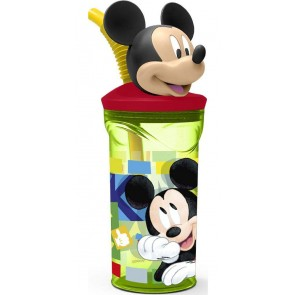 Mickey Mouse. Bicchiere 3D con cannuccia 360ml. Disney