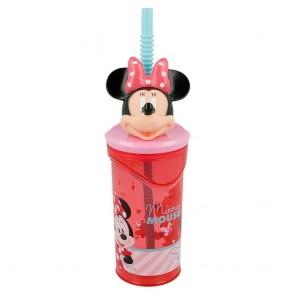 Minnie. Bicchiere 3D con cannuccia 360 ml. Disney