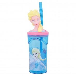 Frozen. Bicchieri con cannuccia 3D 360 ml. Disney