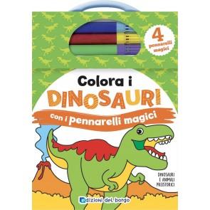 Colora i dinosauri con i pennarelli magici. Con gadget