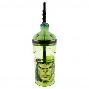 Hulk. Bicchiere 3D con cannuccia 360 ml
