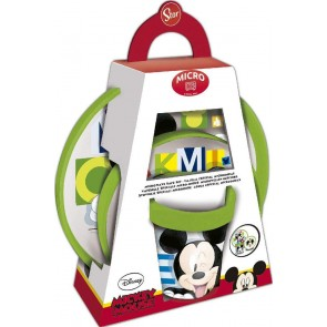 Mickey Mouse. Set pappa Bicolor tre pezzi adatto a microonde. Disney