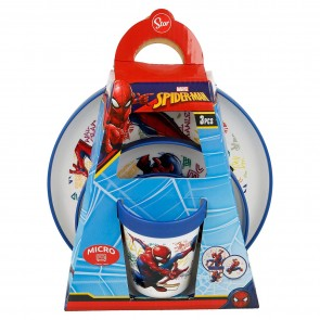 Spiderman. Set pappa Bicolor tre pezzi adatto a Miroonde. Marvel