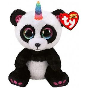 Beanie Boos. Peluche panda unicorno bianco e nero, Paris 15 cm