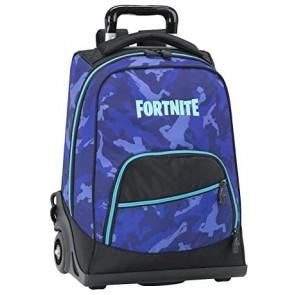 Fortnite Zaino trolley camouflage blue organizzato 3 zip