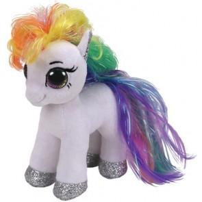 Beanie Boos. Peluche pony bianco rainbow, Starr 15 Cm