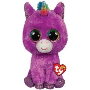 Beanie Boos. Peluche unicorno viola con glitter, Rosette 28 cm