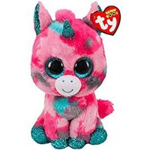 Beanie Boos. Peluche unicorno multicolore glitter, Gumball 28 cm