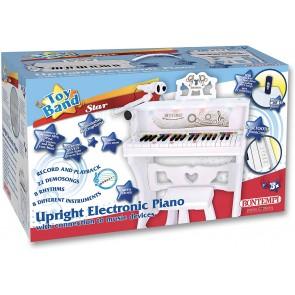 Pianoforte Verticale Bianco 37 Tasti Con Microfono Gambe E Sgabello