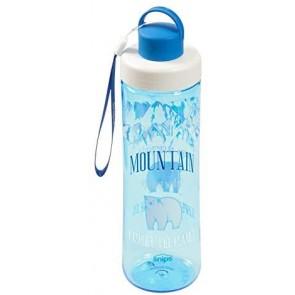 Bottiglia in Tritan 0,75 LT, Blu Trasparente con Decoro Orso Polare