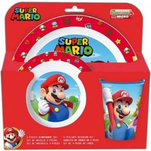 Super Mario. Set da tavola 3 pezzi bicchiere, piatto fondo e piano adatto a Microonde