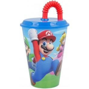 Super Mario. Bicchiere con tappo e cannuccia 430 ml