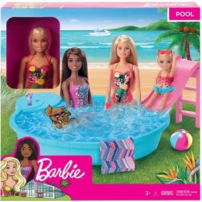 Barbie Bambola con Piscina e Accessori