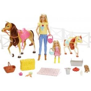 Barbie Ranch di Barbie e Chelsea. Playset Giocattolo con Due Bambole. Due Cavalli e Accessori