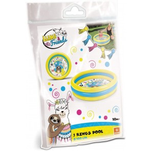 Llama & Friends Piscina gonfiabile per bambini 3 anelli