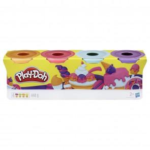 Play-Doh. Set di 4 plastiline per Giochi fantasiosi e creativi, Colore: Arancione/Rosa/Azzurro/Viola