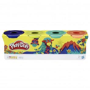 Play-Doh. Plastilina Wild per Giochi creativi e fantasiosi, Confezione da 4 Pezzi, Colore: Blu Scuro, Verde Lime, Turchese e Arancione