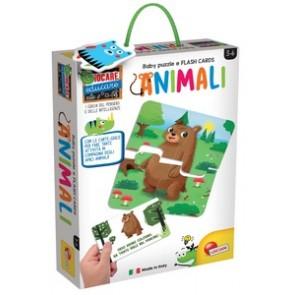 Giocare Educare. Baby Puzzle + Flash Cards Gli Animali