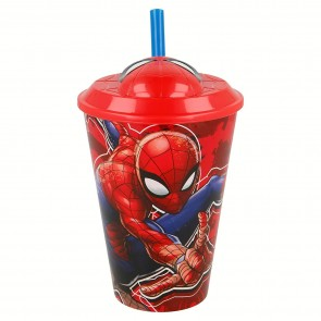 Spiderman. icchiere con Cannuccia 3D da 430 ml
