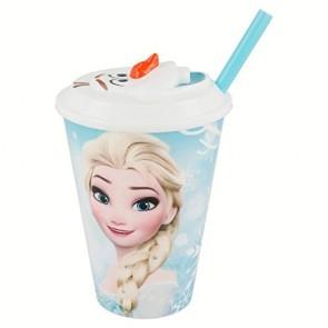 Frozen. Di&Gi Olaf Bicchiere con cannuccia e tappo 3D 430 ml. Disney