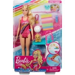 Barbie Nuotatrice, Bambola in Costume con Piscina e Accessori