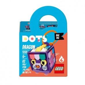 LEGO DOTS (41939). Bag Tag Dragone, Artigianato per Bambini, Accessori Portachiavi, Giocattolo per Bambini di 6 Anni